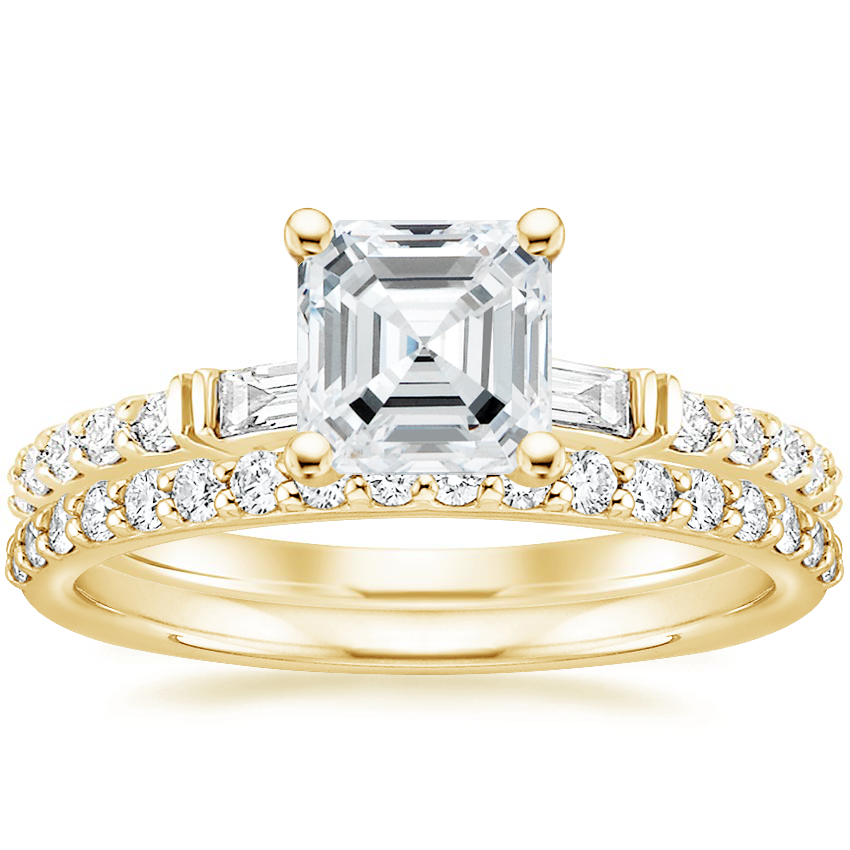 18K Yellow Gold Regency Diamond Ring with Petite Shared Prong Diamond Ring (1/4 ct. tw.)