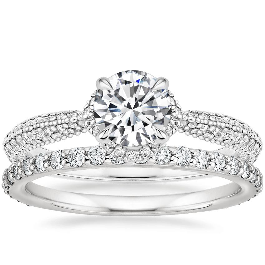 18K White Gold Aster Diamond Ring (1/3 ct. tw.) with Luxe Petite Shared Prong Diamond Ring (3/8 ct. tw.)