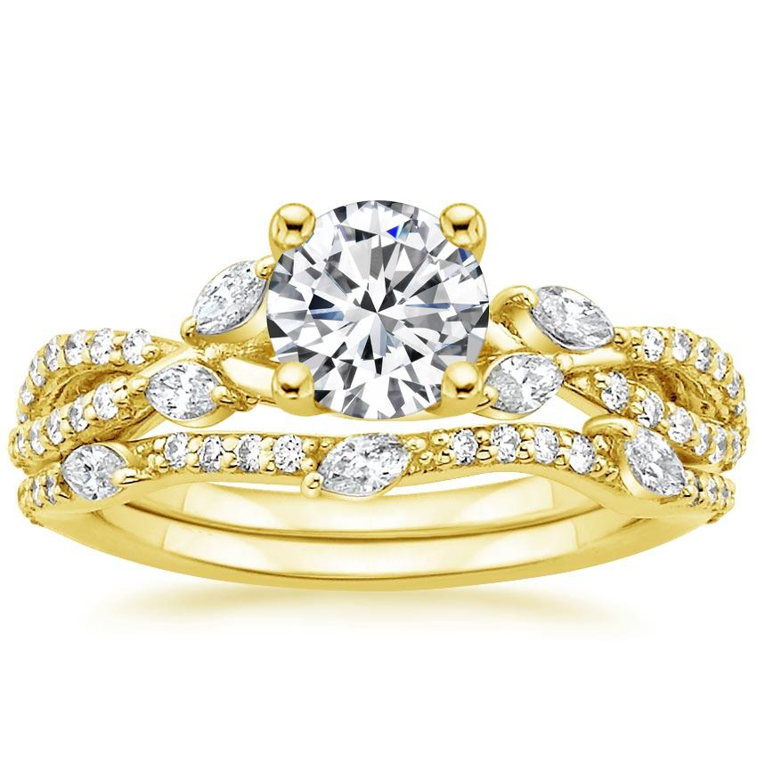 18K Yellow Gold Luxe Willow Bridal Set (1/2 ct. tw.), top view