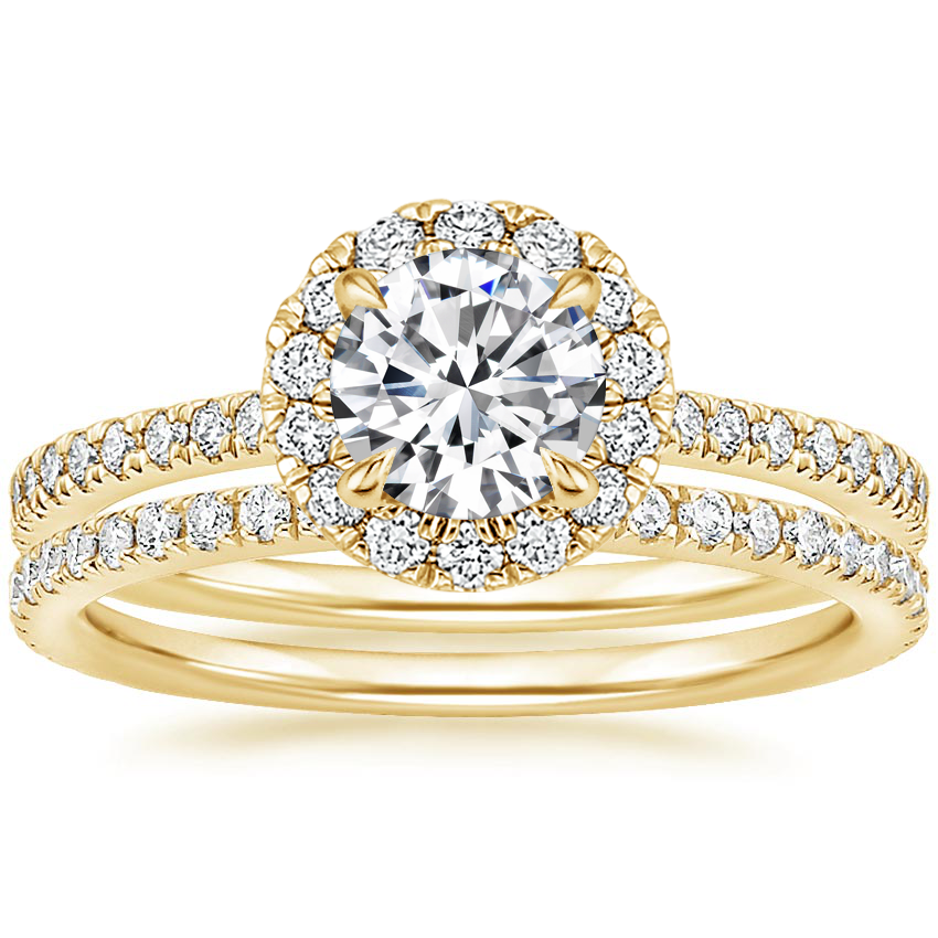 18K Yellow Gold Luxe Ballad Halo Diamond Bridal Set (5/8 ct. tw.)