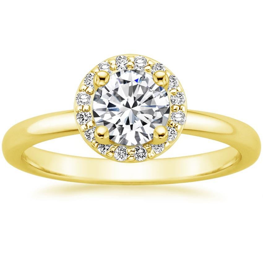 Round 18K Yellow Gold Halo Diamond Ring (1/6 ct. tw.)