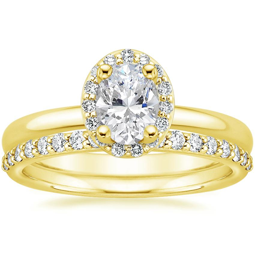 18K Yellow Gold Fancy Halo Diamond Ring (1/8 ct. tw.) with Petite Shared Prong Diamond Ring (1/4 ct. tw.)