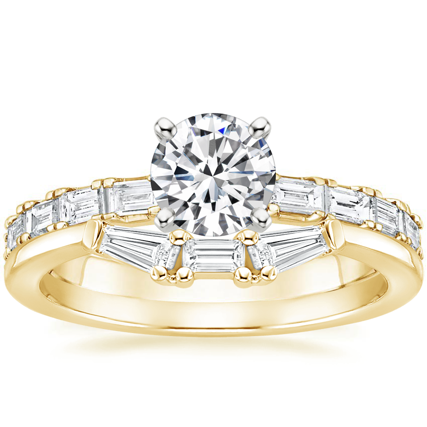 18K Yellow Gold Gemma Diamond Ring with Tapered Baguette Diamond Ring
