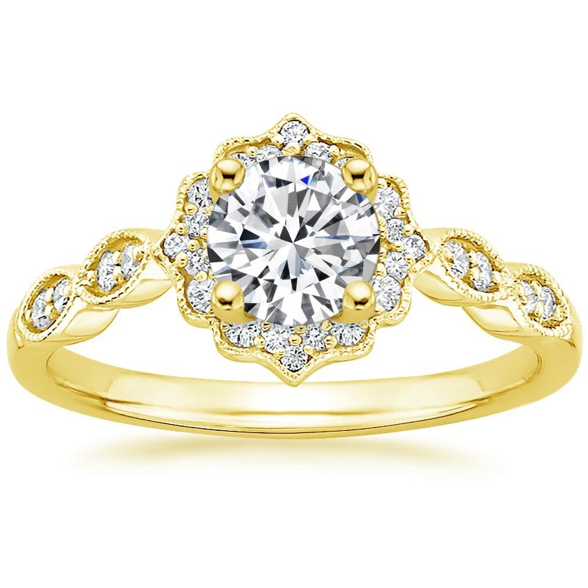 Round 18K Yellow Gold Cadenza Halo Diamond Ring