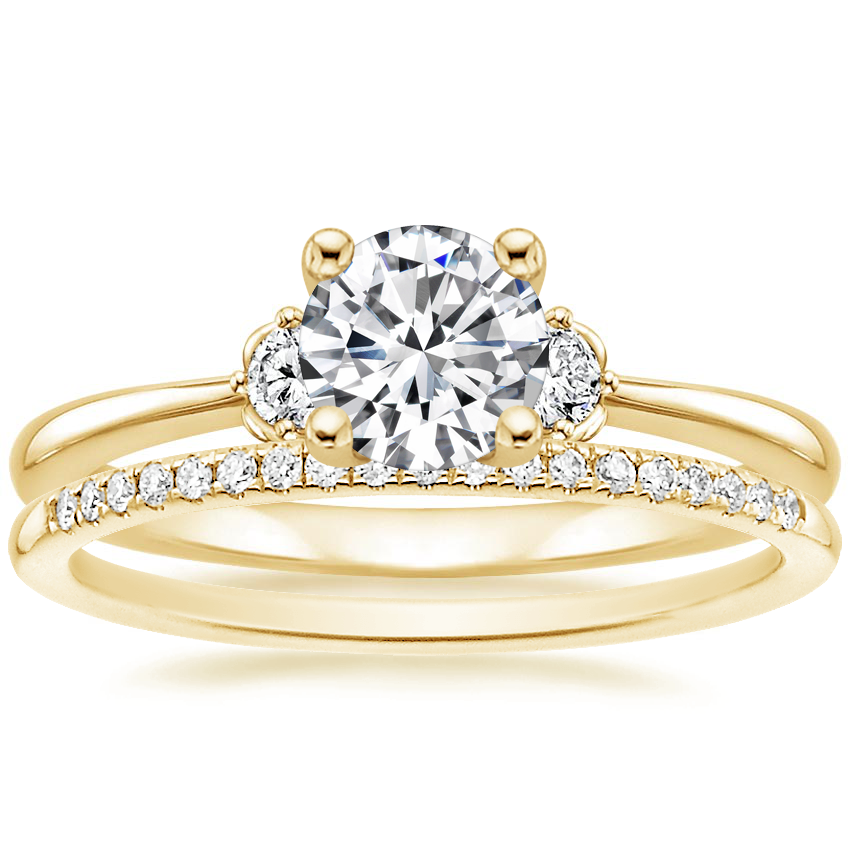 18K Yellow Gold Blossom Diamond Ring with Whisper Diamond Ring (1/10 ct. tw.)