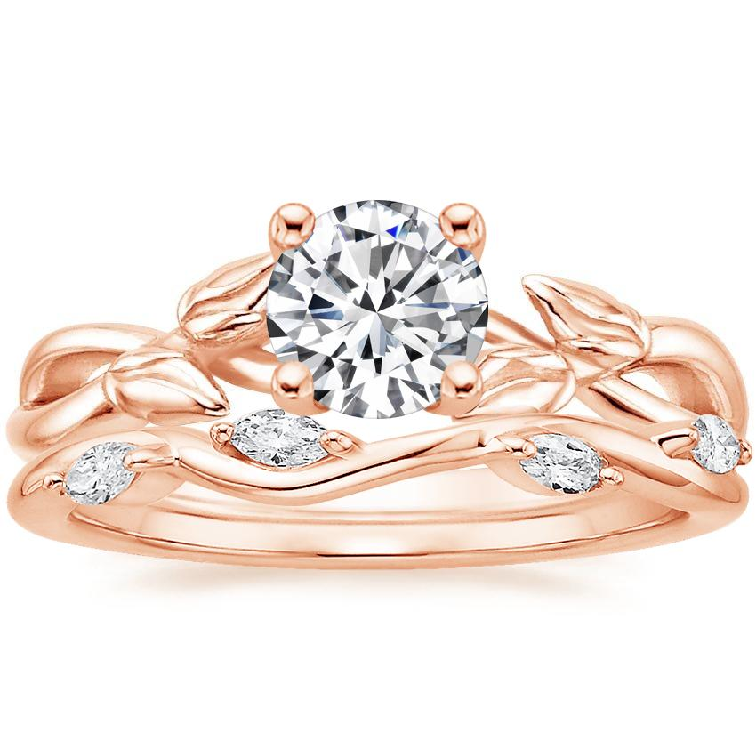 14K Rose Gold Budding Willow Ring with Winding Willow Diamond Ring (1/8 ct. tw.)