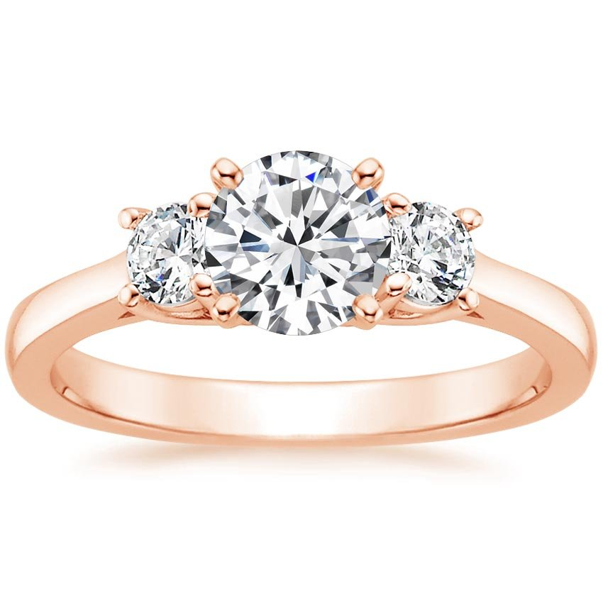 14K Rose Gold Petite Three Stone Trellis Ring (1/3 ct. tw.), top view