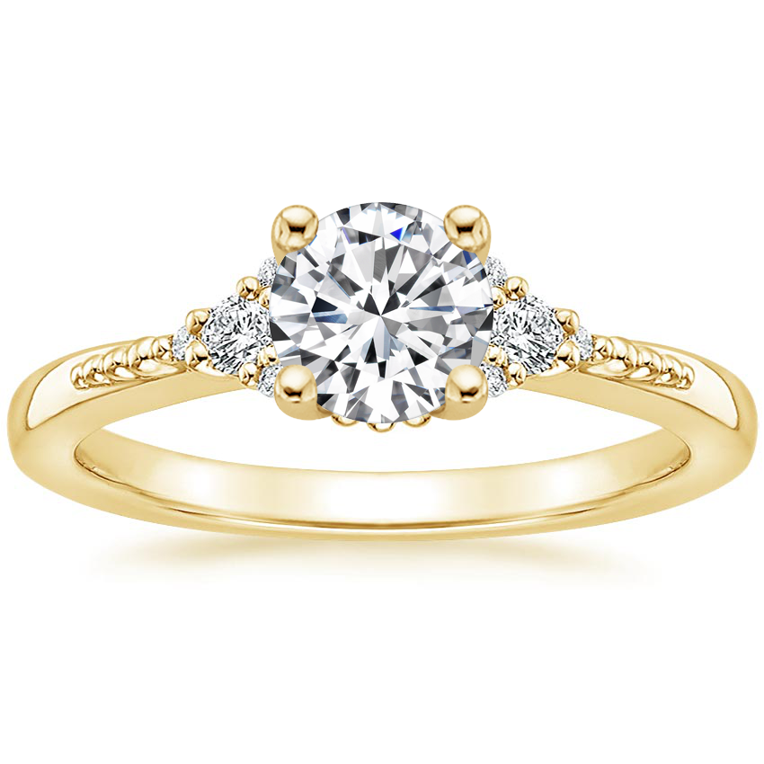 Round 18K Yellow Gold Cuvee Diamond Ring