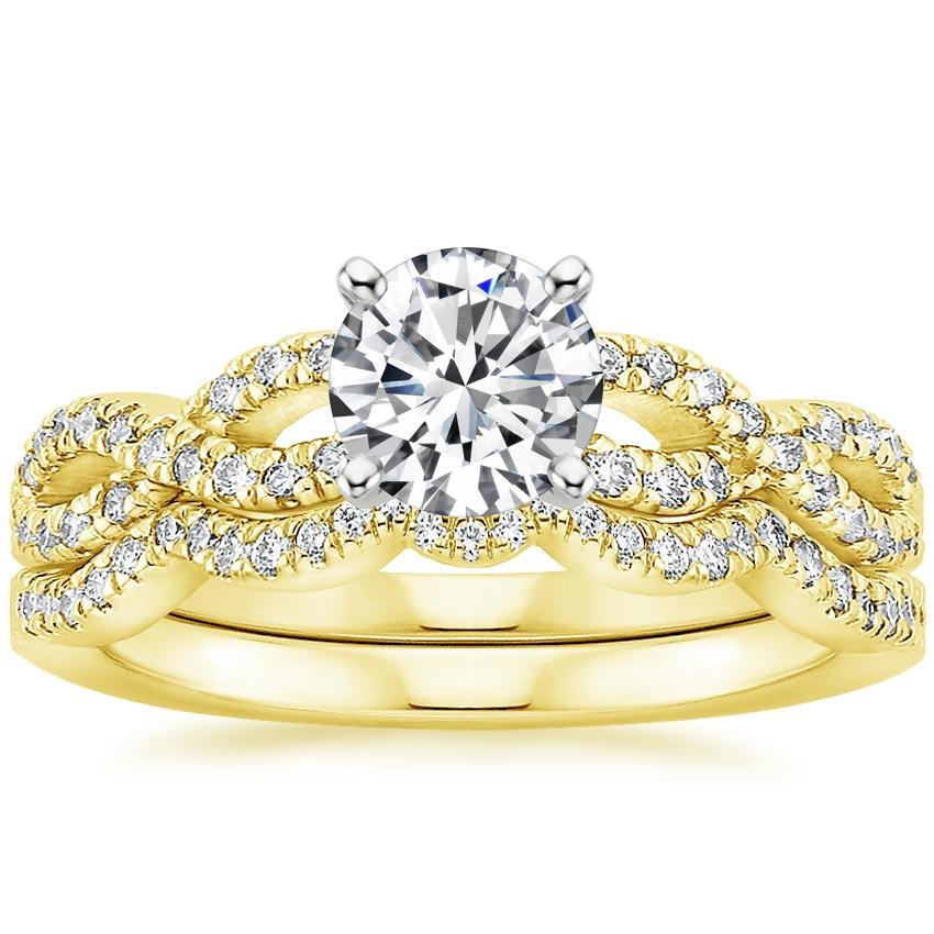18K Yellow Gold Infinity Diamond Ring Bridal Set (1/3 ct. tw.), top view