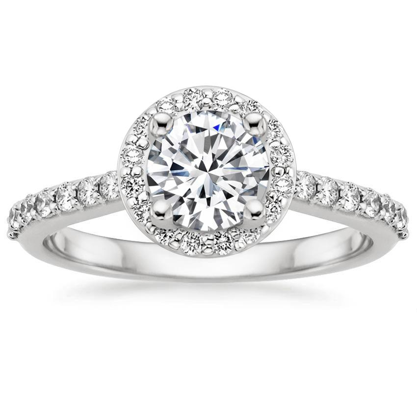 18K White Gold Halo Diamond Ring with Side Stones (1/3 ct. tw.), top view