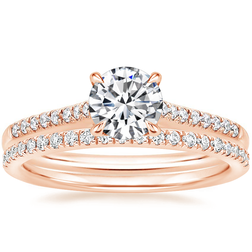 14K Rose Gold Lissome Diamond Ring (1/10 ct. tw.) with Ballad Diamond Ring (1/6 ct. tw.)