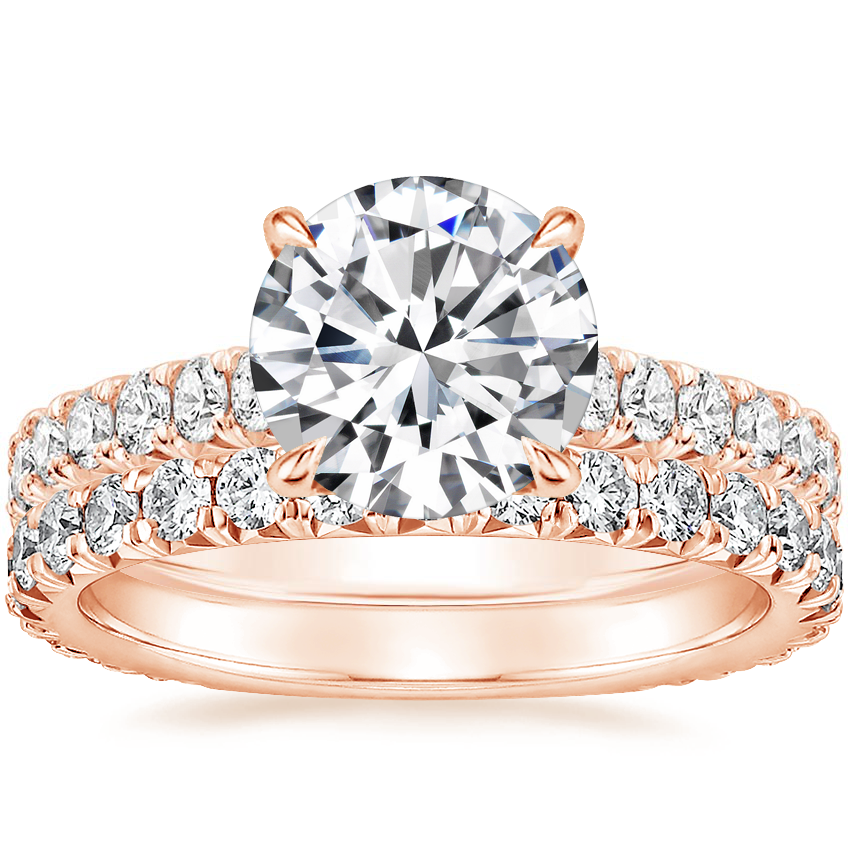 14K Rose Gold Sienna Diamond Ring (2/5 ct. tw.) with Luxe Sienna Diamond Ring (5/8 ct. tw.)