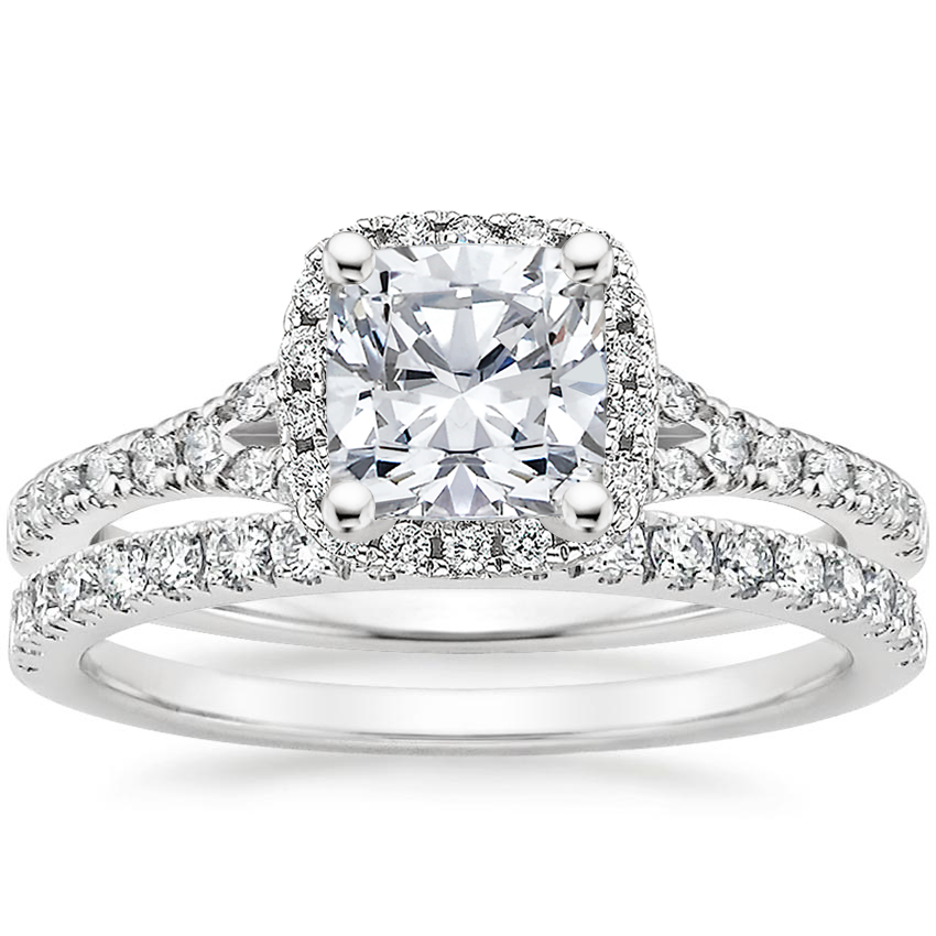 18K White Gold Joy Diamond Ring (1/3 ct. tw.) with Bliss Diamond Ring (1/5 ct. tw.)