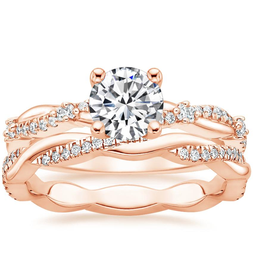 14K Rose Gold Meadow Diamond Ring with Petite Twisted Vine Eternity Diamond Ring (1/5 ct. tw.)