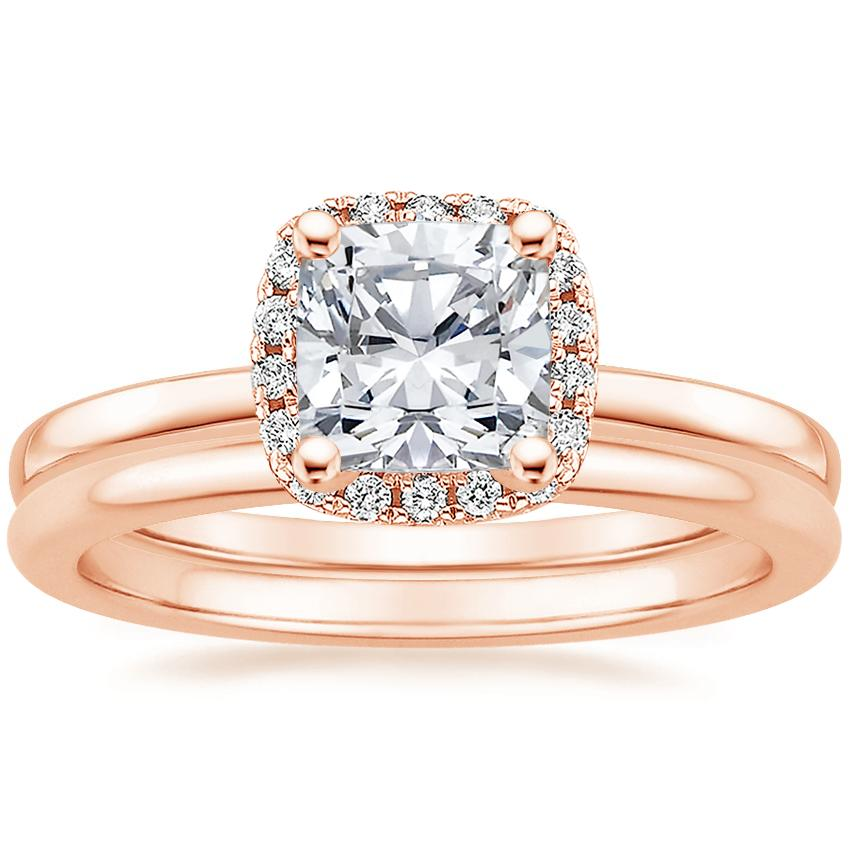 14K Rose Gold French Halo Diamond Ring with Petite Comfort Fit Wedding Ring