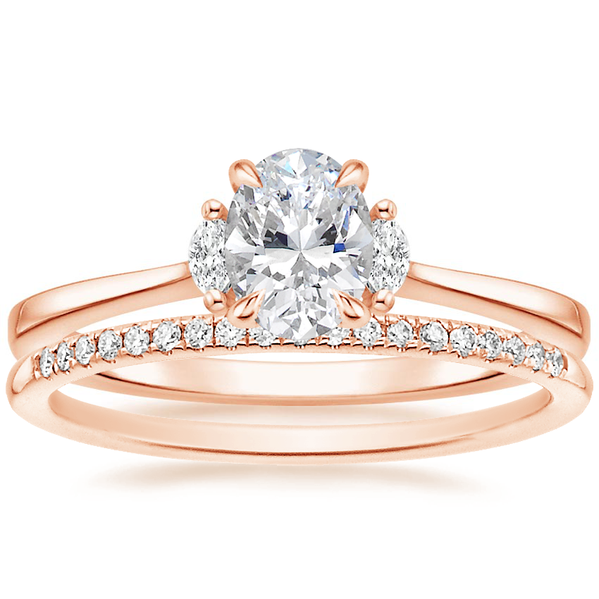 14K Rose Gold Jolie Diamond Ring with Whisper Diamond Ring (1/10 ct. tw.)
