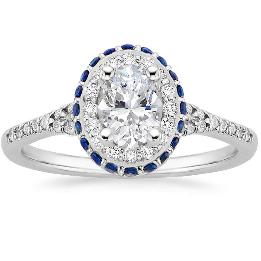 18K White Gold Circa Diamond Ring with Sapphire Accents (1/3 ct. tw.), top view