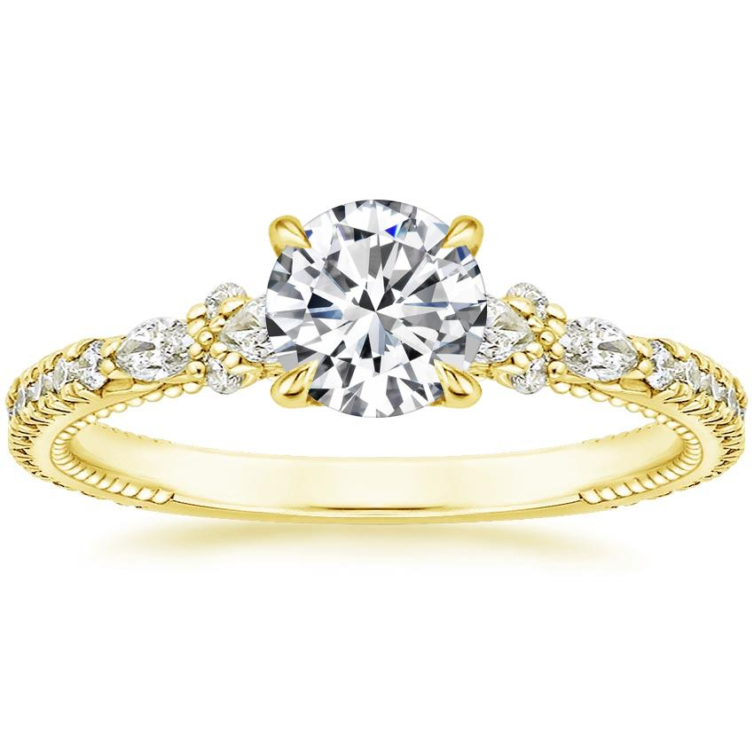 Round 18K Yellow Gold Primrose Diamond Ring