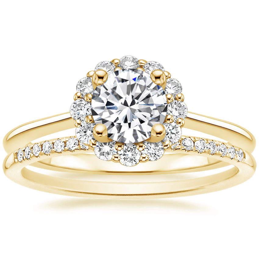 18K Yellow Gold Calla Diamond Ring (1/3 ct. tw.) with Whisper Diamond Ring (1/10 ct. tw.)