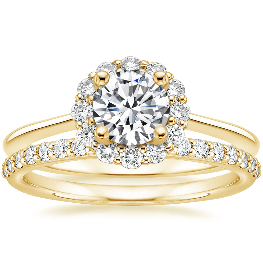 18K Yellow Gold Calla Diamond Ring (1/3 ct. tw.) with Petite Shared Prong Diamond Ring (1/4 ct. tw.)