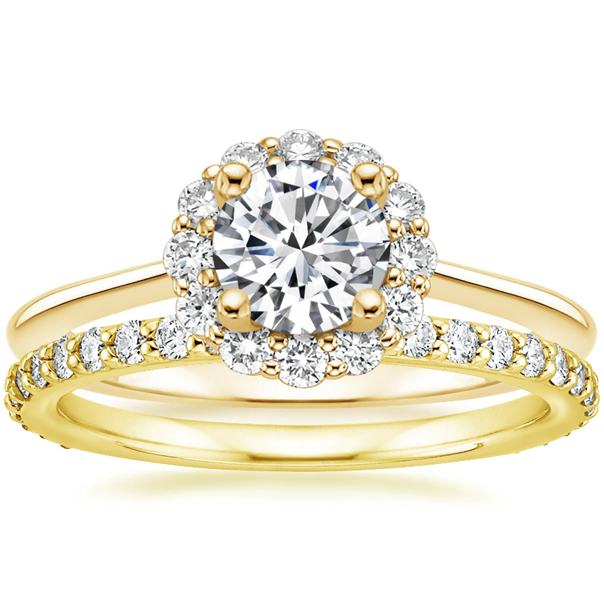 18K Yellow Gold Calla Diamond Ring (1/3 ct. tw.) with Luxe Petite Shared Prong Diamond Ring (3/8 ct. tw.)
