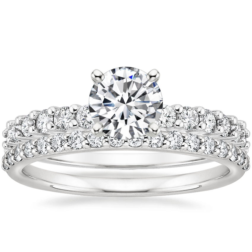 18K White Gold Shared Prong Diamond Ring (3/8 ct. tw.) with Petite Shared Prong Diamond Ring (1/4 ct. tw.)