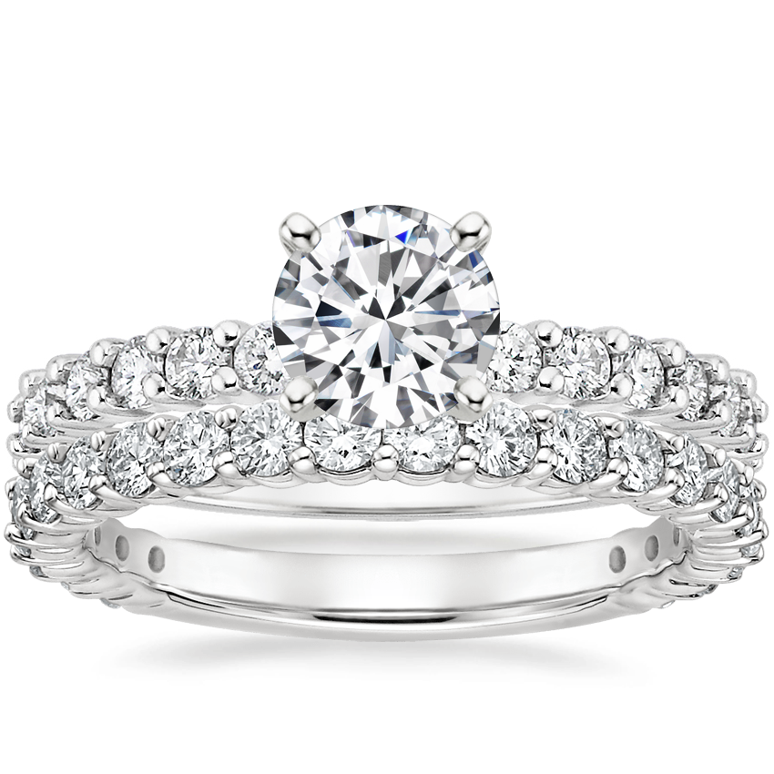 18K White Gold Shared Prong Diamond Ring (3/8 ct. tw.) with Luxe Shared Prong Diamond Ring (5/8 ct. tw.)