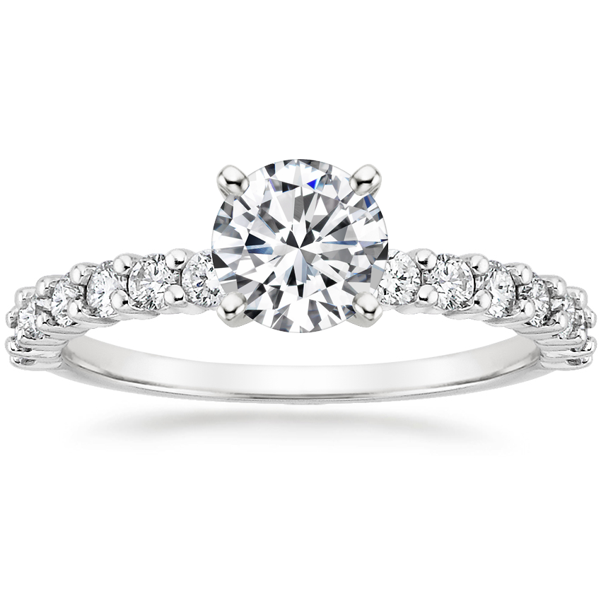 Round Platinum Shared Prong Diamond Ring (3/8 ct. tw.)