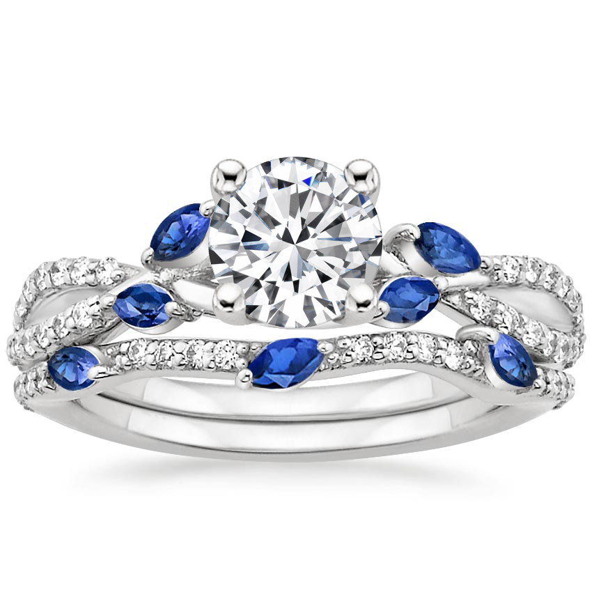 18K White Gold Luxe Willow Sapphire and Diamond Bridal Set (1/4 ct. tw.)