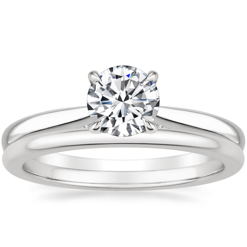 Platinum Dawn Diamond Ring with Petite Comfort Fit Wedding Ring