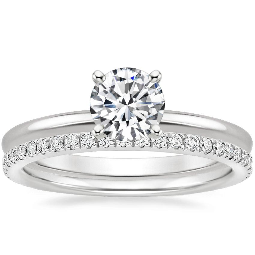 18K White Gold Four-Prong Petite Comfort Fit Ring with Luxe Ballad Diamond Ring (1/4 ct. tw.)