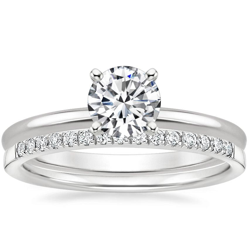 18K White Gold Four-Prong Petite Comfort Fit Ring with Petite Ballad Diamond Ring (1/10 ct. tw.)