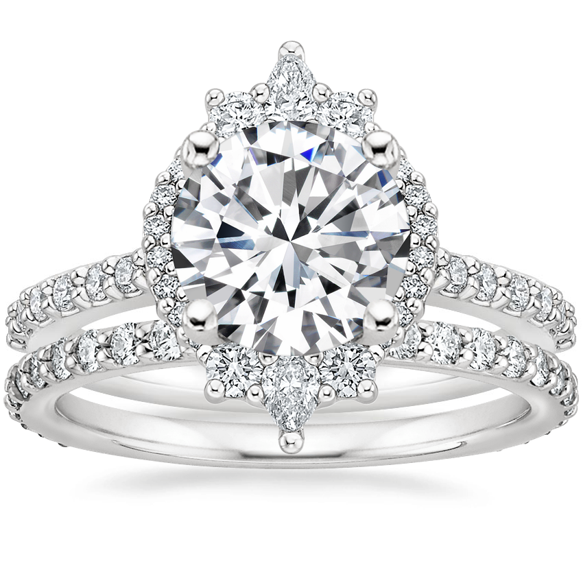 18K White Gold Alma Diamond Ring with Luxe Petite Shared Prong Diamond Ring (3/8 ct. tw.)