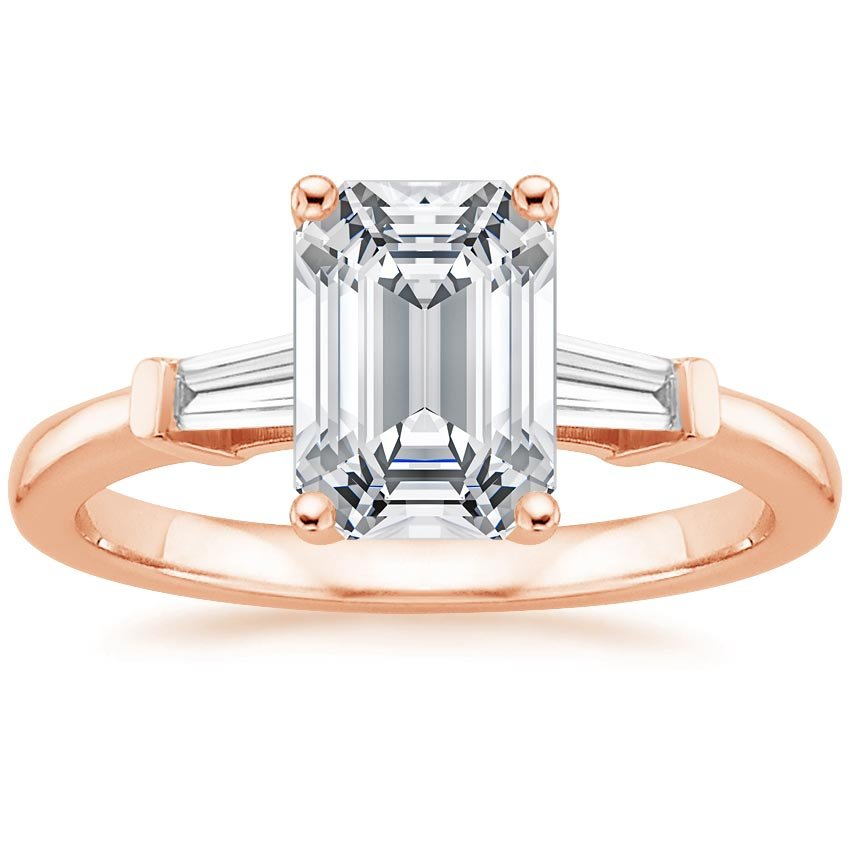 14K Rose Gold Tapered Baguette Diamond Ring, top view