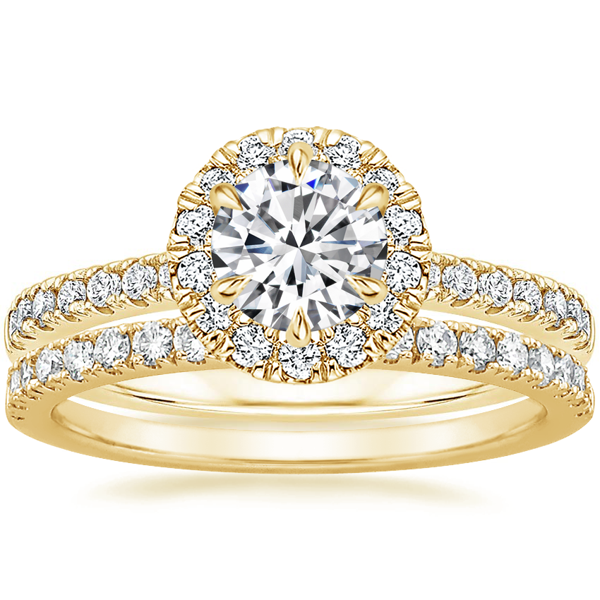 18K Yellow Gold Poppy Halo Diamond Ring (1/3 ct. tw.) with Bliss Diamond Ring (1/5 ct. tw.)