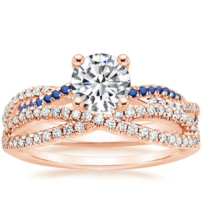 14K Rose Gold Petite Luxe Twisted Vine Sapphire and Diamond Ring with Entwined Diamond Ring (1/4 ct. tw.)