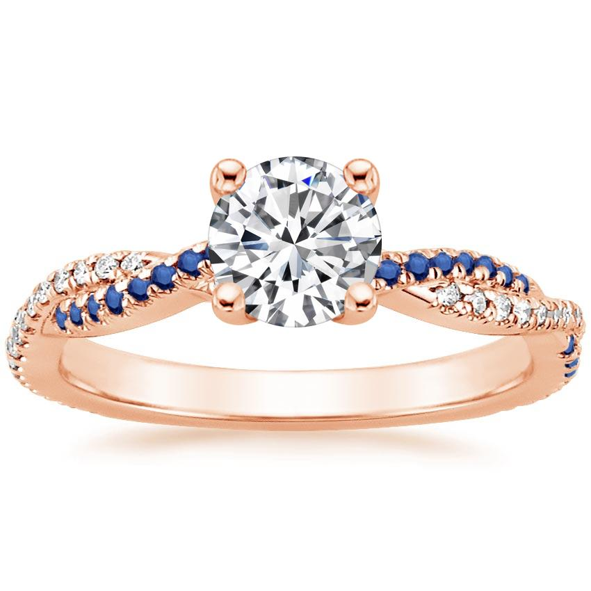 Round 14K Rose Gold Petite Luxe Twisted Vine Sapphire and Diamond Ring (1/8 ct. tw.)