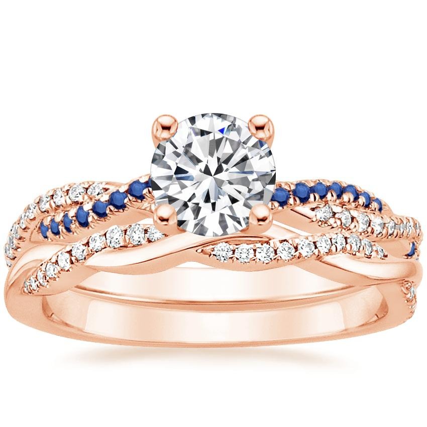 14K Rose Gold Petite Luxe Twisted Vine Sapphire and Diamond Ring with Petite Twisted Vine Diamond Ring (1/8 ct. tw.)