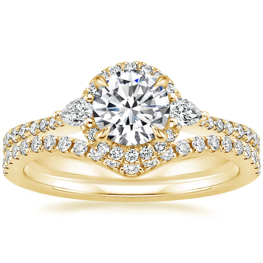 18K Yellow Gold Luxe Aria Halo Diamond Ring with Flair Diamond Ring (1/6 ct. tw.)