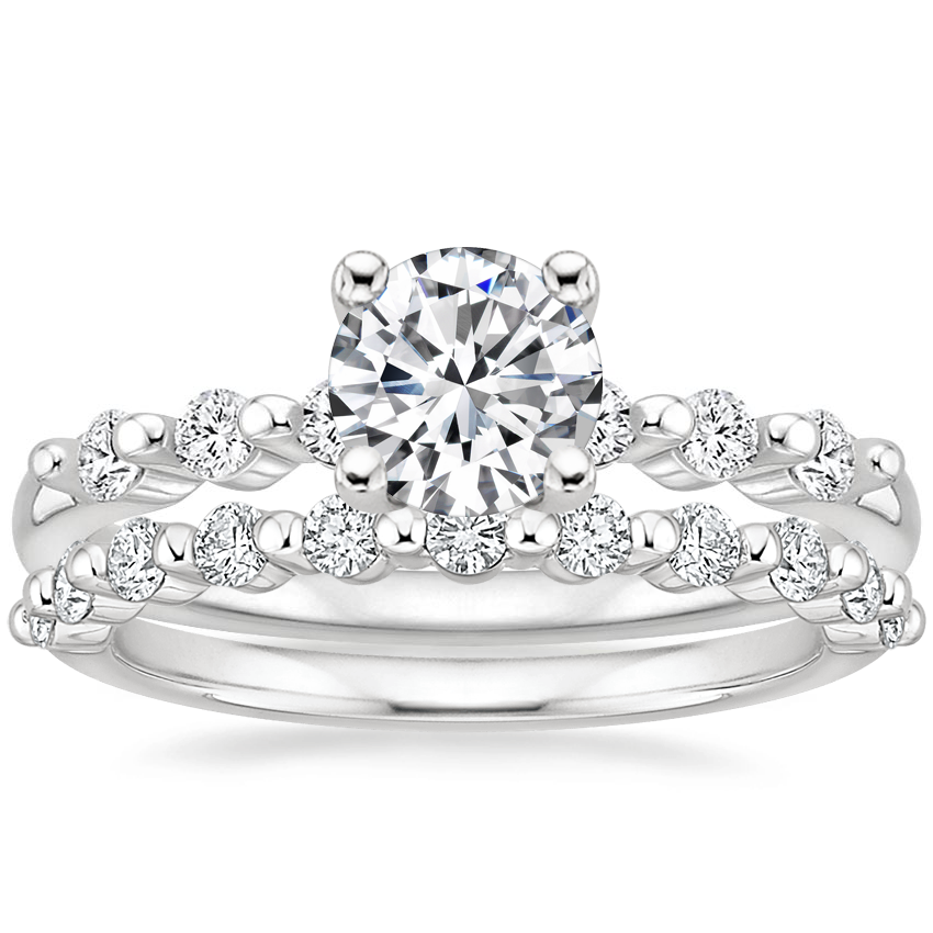 Platinum Petite Marseille Diamond Ring (1/6 ct. tw.) with Marseille Diamond Ring (1/3 ct. tw.)