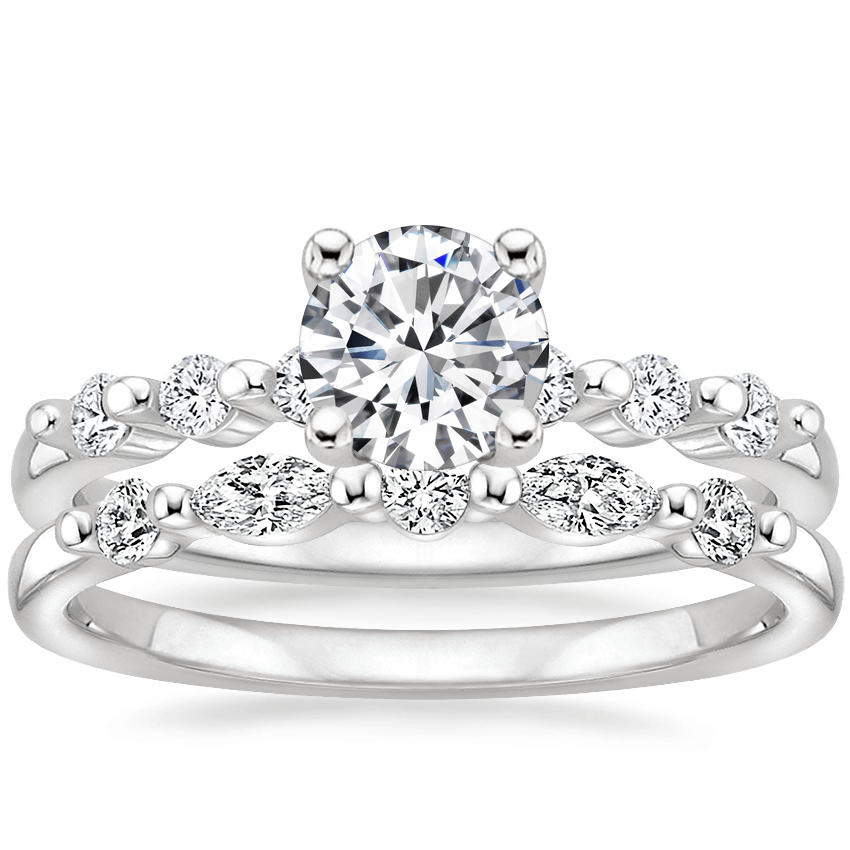 Platinum Petite Marseille Diamond Ring (1/6 ct. tw.) with Petite Versailles Diamond Ring (1/5 ct. tw.)