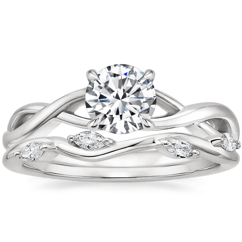 18K White Gold Eden Diamond Ring with Winding Willow Diamond Ring (1/8 ct. tw.)