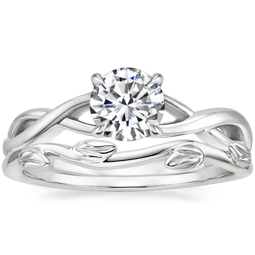 18K White Gold Eden Diamond Ring with Winding Willow Ring