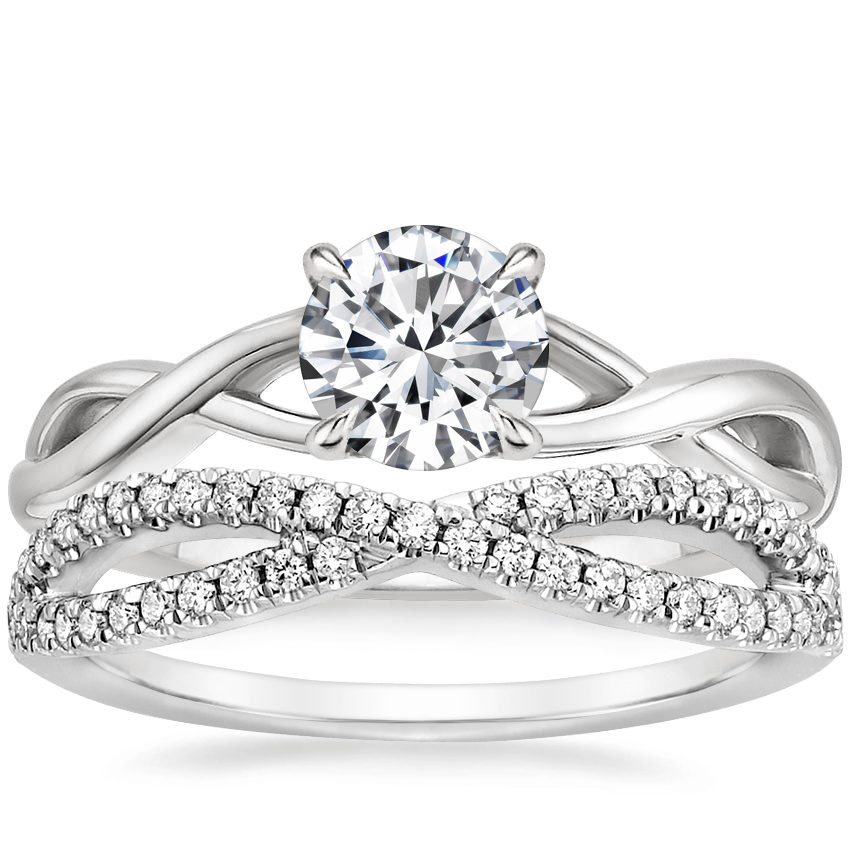 18K White Gold Eden Diamond Ring with Entwined Diamond Ring (1/4 ct. tw.)