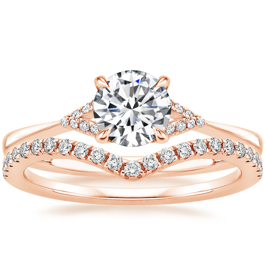 14K Rose Gold Zoe Diamond Ring with Flair Diamond Ring (1/6 ct. tw.)