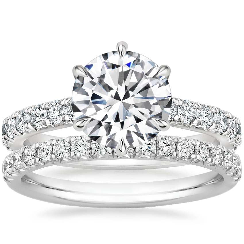 Platinum Luxe Sienna Diamond Ring (1/2 ct. tw.) with Amelie Diamond Ring (1/3 ct. tw.)