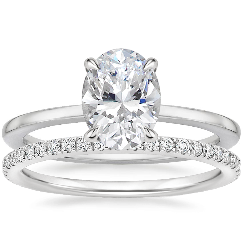 18K White Gold Lumiere Diamond Ring with Luxe Ballad Diamond Ring (1/4 ct. tw.)