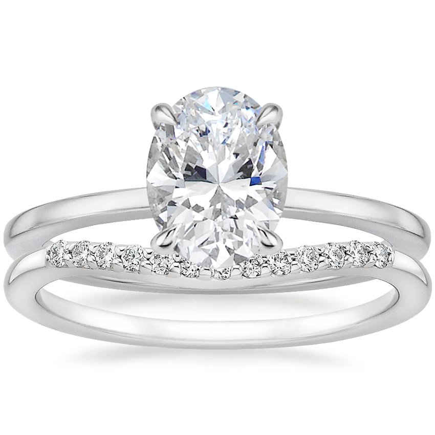 18K White Gold Lumiere Diamond Ring with Petite Curved Diamond Ring (1/10 ct. tw.)