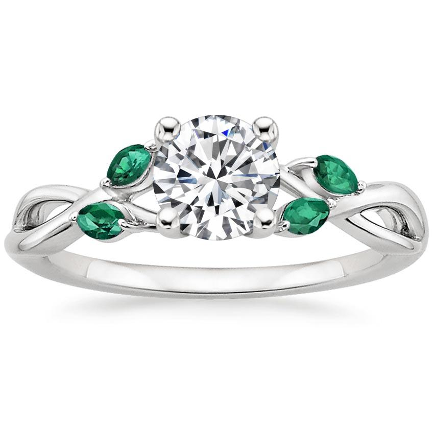 Round Engagement Ring With Emeralds