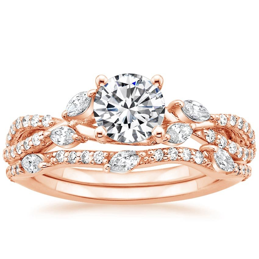 14K Rose Gold Luxe Willow Matched Set (1/2 ct. tw.), top view